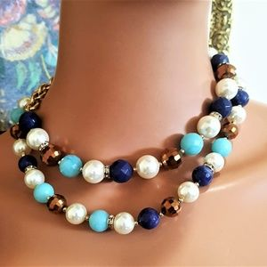 BB NECKLACE GOLD PLATED , BLUE , BROWN FAUX PEARL